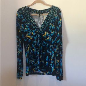 BCBG Black and Team Tie Front Long Sleeve Top